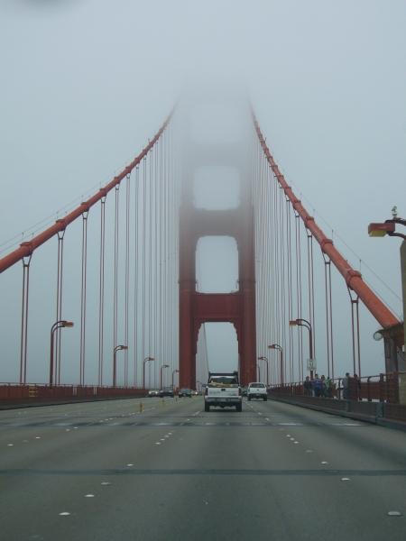 Golden Gate Bridge, enshrouded in fog, naturally!