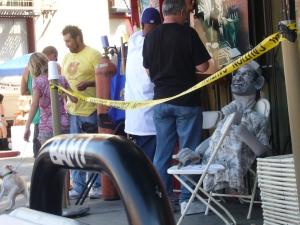 Joel Bloom Statue in front of former Bloom's General Store